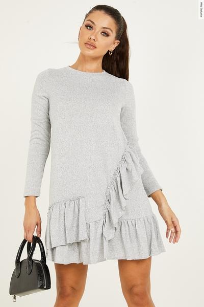 Grey Light Knit Frill Dress